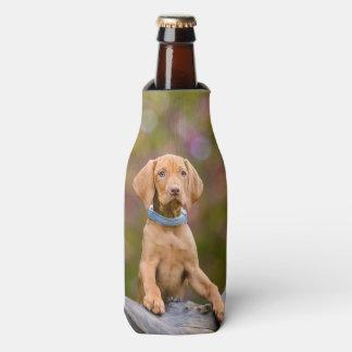 Cute puppyeyed Hungarian Vizsla Dog Puppy Photo // Bottle Cooler