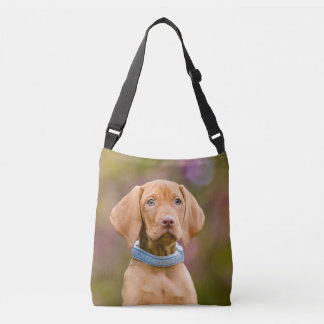 Cute puppyeyed Hungarian Vizsla Dog Puppy Photo // Crossbody Bag