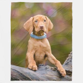 Cute puppyeyed Hungarian Vizsla Dog Puppy Photo __ Fleece Blanket