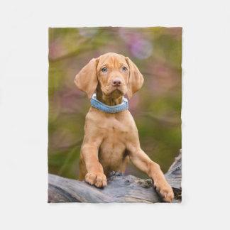 Cute puppyeyed Hungarian Vizsla Dog Puppy Photo // Fleece Blanket