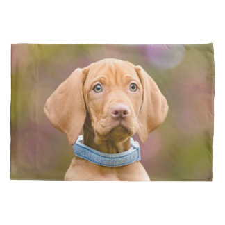 Cute puppyeyed Hungarian Vizsla Dog Puppy Photo _. Pillowcase