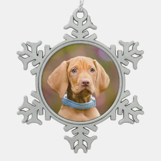Cute puppyeyed Hungarian Vizsla Dog Puppy Photo * Snowflake Pewter Christmas Ornament