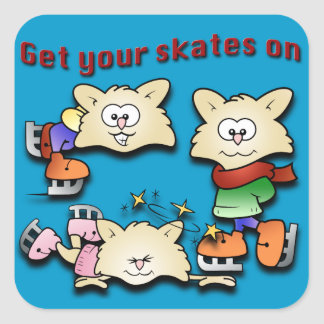 Cute Pups on Ice Square Sticker