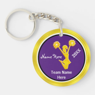Cute Purpla and Gold Cheer Keychains PERSONALIZED