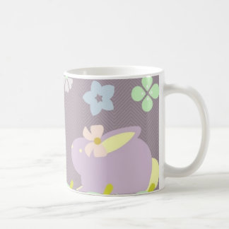 cute purple and pink bunnies with ribbons mug