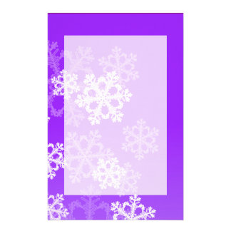 Cute purple and white Christmas snowflakes Stationery Design