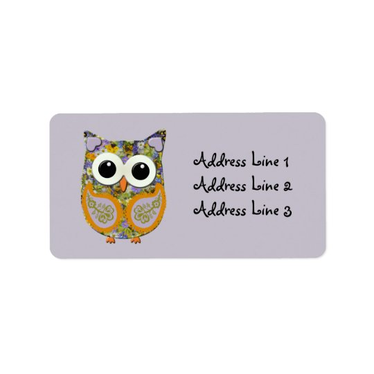 Cute Purple and Yellow Floral Owl Address Label