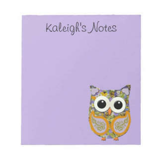 Cute Purple and Yellow Floral Owl Notepad