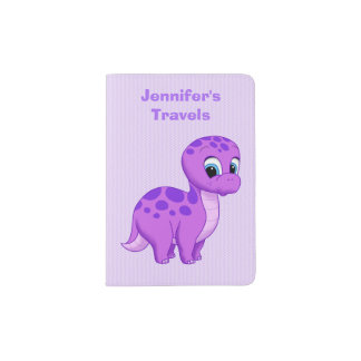 Cute Purple Baby Brontosaurus Dinosaur Passport Holder
