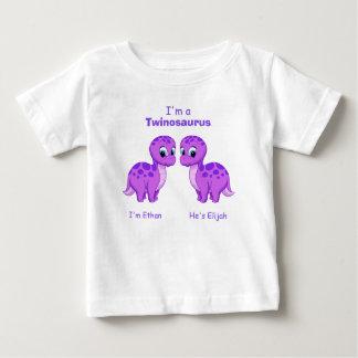 Cute Purple Baby Dinosaur Twins Personalized Baby T-Shirt