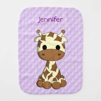 Cute purple baby giraffe cartoon name burp cloth