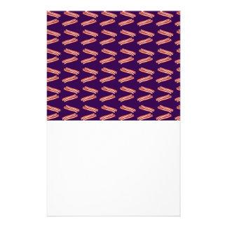 Cute purple bacon pattern stationery