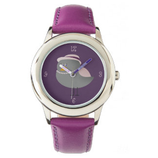 Cute Purple Bird Old Fashion Lady Adorable Girly Watch