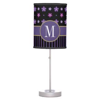 Cute Purple Black Floral Striped Gold Monogram Table Lamp