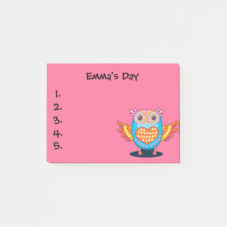 Cute Purple Blue Owl Child's To Do List Post It Post-it Notes