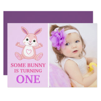 Cute Purple Bunny Baby Girl First Birthday Party Card