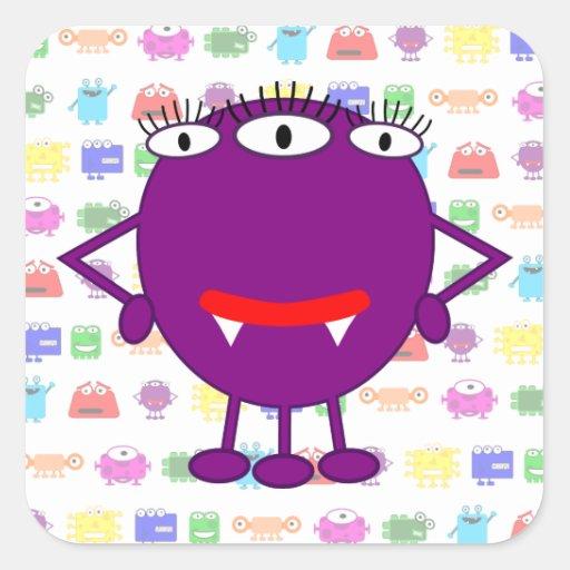 Cute Purple Cartoon Monster Stickers