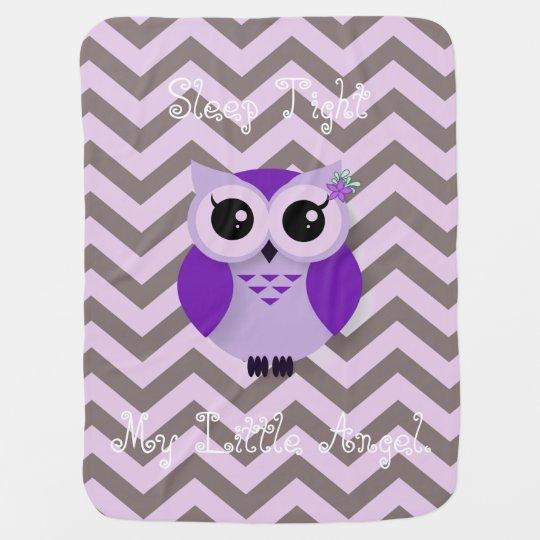 Cute purple cartoon owl chevron background receiving blanket