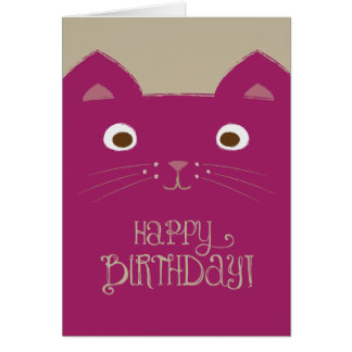 Cute Purple Cat Birthday Card