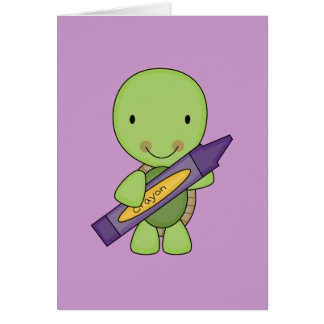 cute purple crayon turtle card