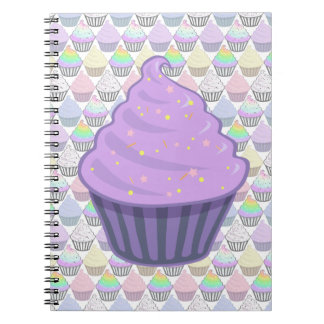 Cute Purple Cupcake Swirl Icing With Sprinkles Notebook