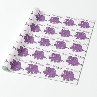 Cute Purple Dinosaur-Happy Birthday! Wrapping Paper