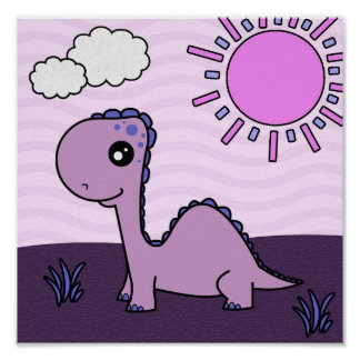 Cute Purple Dinosaur Scene Poster