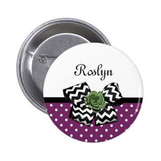Cute Purple Dots Green Rose Chevron Bow With Name 2 Inch Round Button