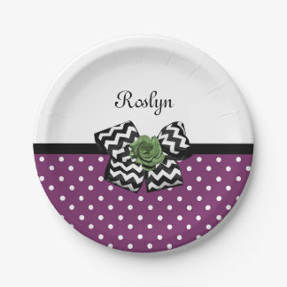 Cute Purple Dots Green Rose Chevron Bow With Name 7 Inch Paper Plate
