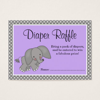 Cute Purple Elephant Baby Shower Diaper Raffle Business Card
