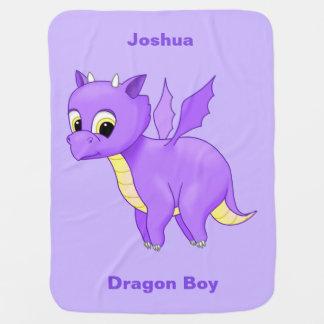 Cute Purple Flying Baby Dragon Baby Blanket