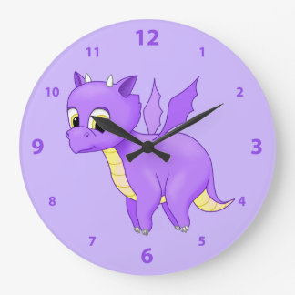 Cute Purple Flying Baby Dragon Large Clock