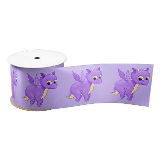 Cute Purple Flying Baby Dragon Satin Ribbon