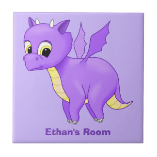 Cute Purple Flying Baby Dragon Tile