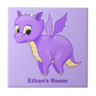 Cute Purple Flying Baby Dragon Tiles