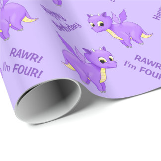 Cute Purple Flying Baby Dragon Wrapping Paper