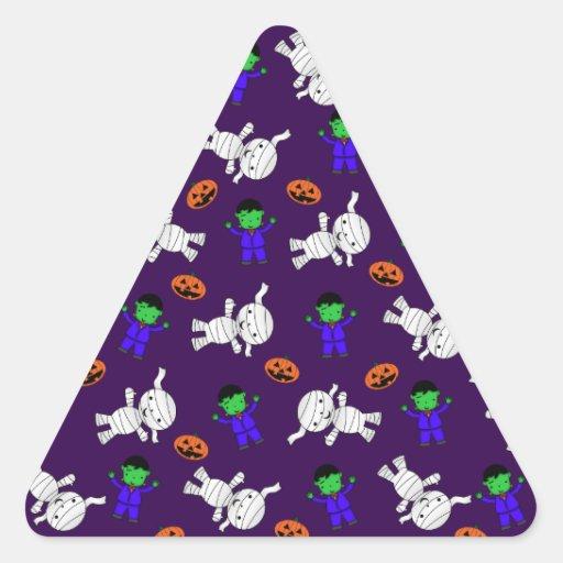 Cute purple Frankenstein mummy pumpkins Triangle Sticker
