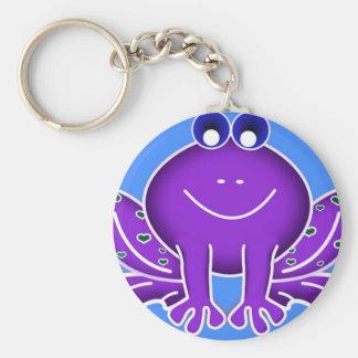 cute purple frog basic round button keychain