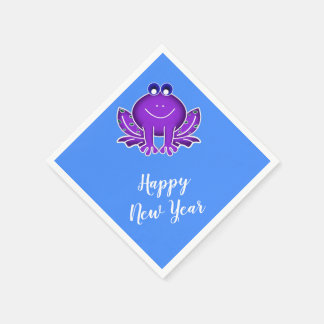 cute purple frog-  Happy New Year Disposable Napkins