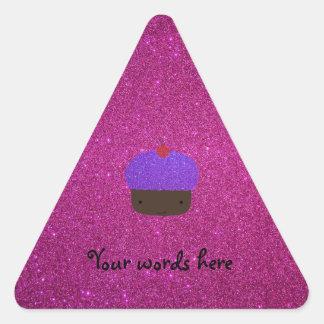Cute purple glitter cupcake pink glitter sticker