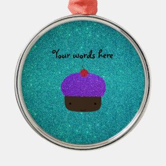 Cute purple glitter cupcake turquoise glitter metal ornament