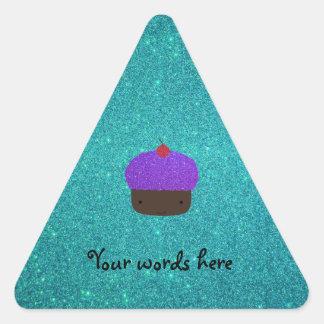 Cute purple glitter cupcake turquoise glitter stickers