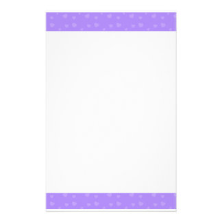 Cute Purple Hearts Pattern Stationery