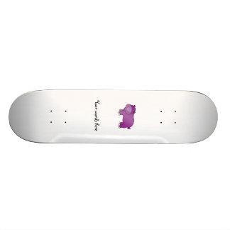 Cute purple hippo custom skate board