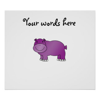 Cute purple hippo poster
