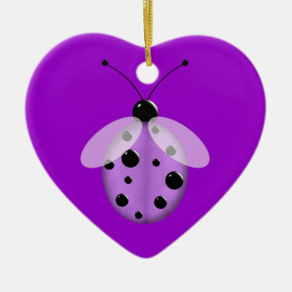 Cute Purple Lady Bug Ceramic Heart Ornament
