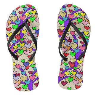 Cute Purple Love Tree Colorful Hearts Pattern Flip Flops