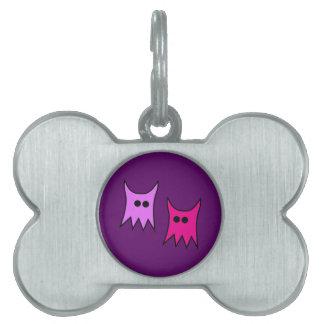 Cute Purple Monster Ghosts Cartoon Pet Tag