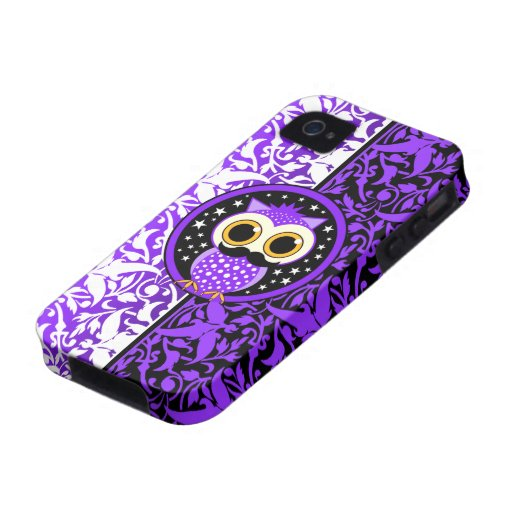 cute purple mustache owl iPhone 4/4S covers