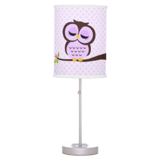 Cute Purple Owl and Polka Dots Table Lamp